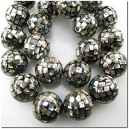 4 Abalone mosaic round beads Approximately 14mm CLOSEOUT