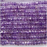 Amethyst hand cut rondelle gemstone beads (N) 3.2 to 3.5mm 14 inchCLOSEOUT