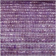 Amethyst faceted hand cut rondelle gemstone beads (N) 4 to 4.3mm 13.25 inch