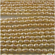 Pearl peach baroque rice beads 2.8 x 4.6mm 16 inch