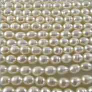 Pearl white baroque puff rice beads 4 x 5.5mm 16 inchCLOSEOUT