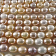Pearl cream peach pink baroque barrel beads 6.3 to 6.8mm 16 inch