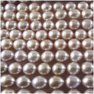 Pearl silver mauve baroque puff rice beads 6.5 to 6.9mm 16 inch