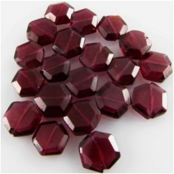 12 Garnet faceted hexagon coin gemstone beads (N)  5 to 6mm