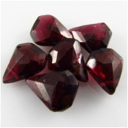6 Garnet faceted drop briolette gemstone beads (N)  8 to 9mmCLOSEOUT