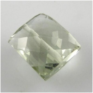 1 Green Amethyst faceted rectangle gemstone bead (H) 8 to 9mm