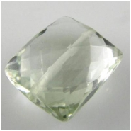 1 Green Amethyst faceted rectangle gemstone bead (H) 9 to 10mm