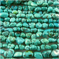 Turquoise Hubei natural nugget gemstone beads (N) 5 to 8mm 15.5 inch
