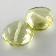 2 Lemon Quartz faceted heart gemstone beads (H) 8.9 to 10mmCLOSEOUT