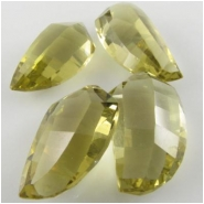 1 Lemon Quartz faceted okra cut briolette pendant gemstone beads (H) 20mm to 22mmCLOSEOUT