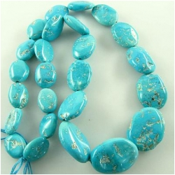 Turquoise Sleeping Beauty graduated nugget gemstone beads (N) 9.8 x 13mm to 17.5 x 23.8mm 16.5 inch