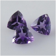 2 Amethyst faceted trillion loose cut gemstones (N) Approximate size 7mm