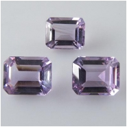 2 Amethyst light faceted octagon loose cut gemstones (N) Approximate size 4 x 6mm