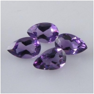 2 Amethyst faceted pear loose cut gemstones (N) Approximate size 5 x 8mm