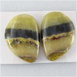 1 set Bumblebee Jasper AA cabochon gemstones (N) Approximate size 17.5 x 25.6mm, 5.2mm thick. One set only.