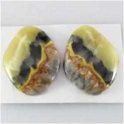 1 set Bumblebee Jasper AA cabochon gemstones (N) Approximate size 19.3 x 24.5mm, 4.3 and 4.6mm thick. One set only.