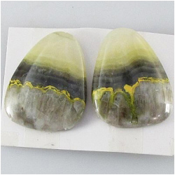 1 set Bumblebee Jasper AA cabochon gemstones (N) Approximate size 18.8 x 23mm, 4.7 and 5mm thick. One set only.