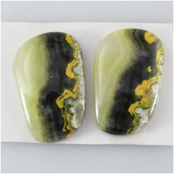 1 set Bumblebee Jasper AA cabochon gemstones (N) Approximate size 15.8 x 25mm, 4.6mm thick. One set only.