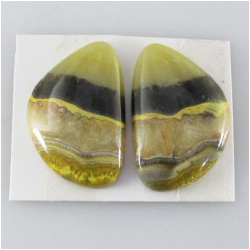 1 set Bumblebee Jasper AA cabochon gemstones (N) Approximate size 15.5 x 23.5mm, 4.3mm thick. One set only.