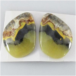 1 set Bumblebee Jasper AA cabochon gemstones (N) Approximate size 17.3 x 23.1mm, 4.5mm thick. One set only.