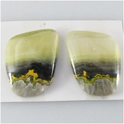1 set Bumblebee Jasper AA cabochon gemstones (N) Approximate size 17.6 x 21.5mm, 5.1mm thick. One set only.