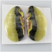 1 set Bumblebee Jasper AA cabochon gemstones (N) Approximate size 16.1 x 26.9mm, 4.3mm thick. One set only.