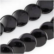 Black Onyx A lentil overlap coin gemstone beads (HD) Approximate size 20mm 16 inch