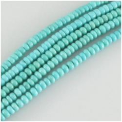 Turquoise Campitos AA soft blue green rondelle Zachery processed gemstone beads (E) Approximate size 3mm 17 inch