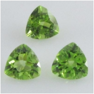 2 Peridot trillion loose cut gemstones (N) Approximate size 5mm