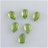 5 Peridot tear drop cabochon loose cut gemstones (N) Approximate size 3 x 5mm
