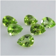 2 Peridot faceted tear drop loose cut gemstones (N) Approximate size 5 x 7mm
