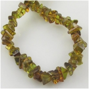 Amber green chip nugget gemstone beads (H) Approximate size 5 x 5mm to 5 x 13mm 15.5 inch