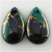 2 Azurite tear drop cabochon gemstones (PDE) Approximate size 14 x 23mm