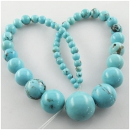 Turquoise Campitos graduated round gemstone beads (S) Approximate size 4 to 18mm 15.5 inch