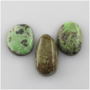 3 Gaspeite cabochon gemstones (N) Approximate size range 14 x 19mm to 12 x 23mm