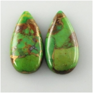 2 Turquoise green Mojave tear drop cabochon gemstones (PDE) Approximate size 10 x 20mm