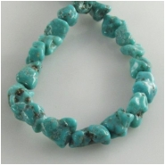 Turquoise Hubei nugget gemstone beads (S) Approximate size range 6 x 6mm to at least 6 x 11mm 15.5 inch