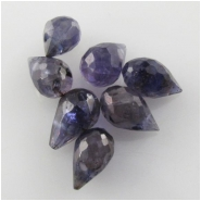 6 Iolite faceted tear drop briolette gemstone beads (D) Approximate size range 4.2 x 8mm to 5.6 x 8.9mm