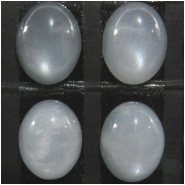 4 Moonstone silver AAA cats eye chatoyant oval loose cut gemstone cabochons (N) Approximate size 8 x 10mm