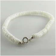 Shell White Clam heishi with base metal clasp Super sale gemstone beads (N) Approximate size 5mm diameter 7.5 inch