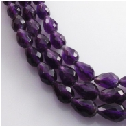 Amethyst facteted tear drop gemstone beads (N) approximate size 6x 8 to 9mm 15.5 inch