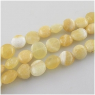 Yellow calcite irregular coin gemstone beads (N) Approximate size 9 to 11mm 15 inch
