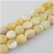 Yellow calcite irregular coin gemstone beads (N) Approximate size 11 to 13mm 15 inch