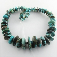 Turquoise Hubei graduated rustic disc rondelle gemstone beads (S) Approximate size 7mm to at least 22mm 16 inch