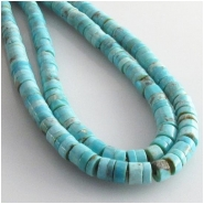 Turquoise Hubei soft blue heishi gemstone beads (S) Approximate size 4.5 to 5.5mm 15.7 inch