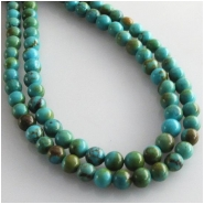 Turquoise Hubei round gemstone beads (S) Approximate size 5mm 4.7 to 5.1mm 15.5 inch
