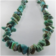 Turquoise Hubei chip nugget gemstone beads (S) Approximate size 3.5 x 4mm to 4 x 9mm 15.5 inch