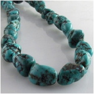 Turquoise Hubei nugget gemstone beads (S) Approximate size range 7 x 11mm to at least 9 x 13mm 15.5 inch