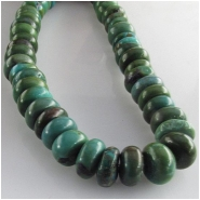 Turquoise Hubei rondelle gemstone beads (S) Approximate size 9 to 10mm 15.5 inch