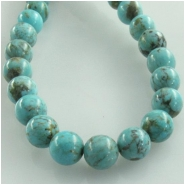 Turquoise Hubei round gemstone beads (S) Approximate size 5.5 to 6mm 16 inch